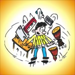 Thomas DJ Cartoon mit Hintergrund